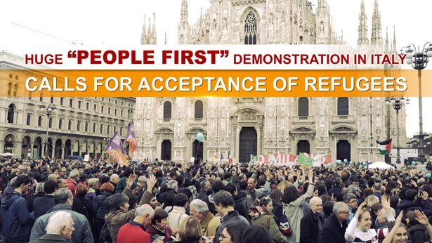 """Huge """"People First"""" Demonstration in Italy Calls for Acceptance of Refugees"""
